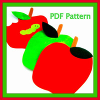 Apple and Worm Apple with a Bite out of It - PDF Pattern - Fall - Quilt Block - No Sew Iron On - Sewing - DIY - Template