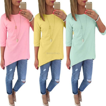 Women Casual O Neck Half Sleeve Solid Slim T-Shirt = 1901743236