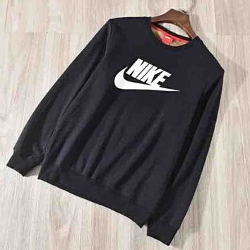 NIKE Autumn And Winter Fashion New Bust Letter Hook Print Thick Keep Warm Women Men Long Sleeve Sweater Top Navy Blue