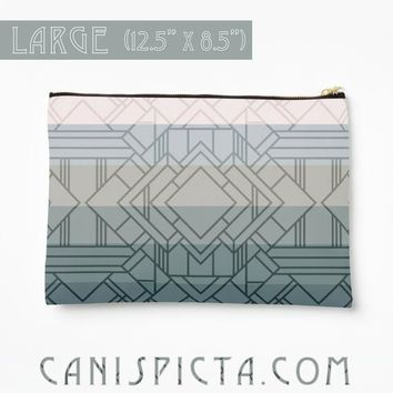Great Gatsby Ombre Studio Pouch Mint Green Art Deco 1920s Accessory Clutch Bag Carryall Vintage Inspired Flapper Purse Geometric Grey Zipper