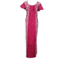 Mogulinterior Womens Kaftan Pink Batik Printed Cotton Long Maxi Caftan Dress L