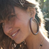 Wooden Post Earrings Large Brown Hoops by TribalStyle on Etsy