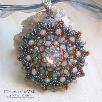 Luxurious and unique Swarovski rivoli beaded pendant, OOAK pendant, Jewelry for her, Unique gifts, Fantasy jewelry, Gifts for her, Handmade