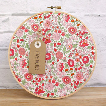 Cork Board Pink Red Green Embroidery Hoop Memo Board Wall Organizer Liberty of London Wall Decor Kitchen Craft Space Kids Room Home Office