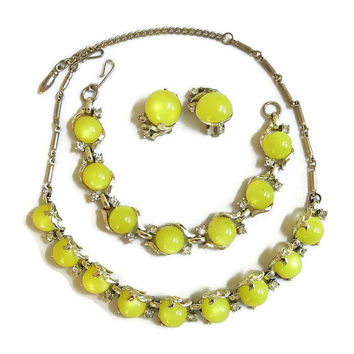 Coro Yellow Lime Moonglow Necklace, Bracelet & Earrings Set, Vintage 1950s with Clear Rhinestones