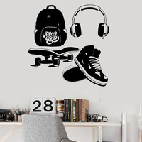 Vinyl Wall Decal Street Style Teen Room Headphones Skate Stickers Unique Gift (ig4536)