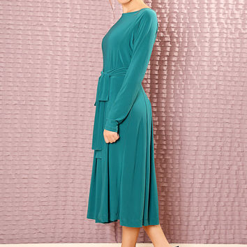 Custom classic Bridesmaids dress - made to order dress - long sleeve modest midi dress