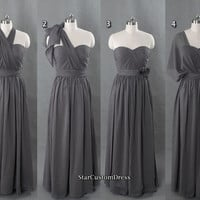 Long Convertible Bridesmaid Dress Grey Infinity dress Chiffon Dress Long Prom Dress