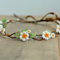 Daisy boho crown White floral crown Spring flowers halo Bridal headband Rustic bridal crown Daisy wedding Flower girl crown White flower