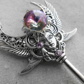 Fantasy Key Necklace Charms,Fantasy jewelry,Winged jewelry,Mask pendant,Skeleton key steampunk,Fantasy pendant,Winged pendant,Grey pink OOAK