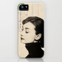 Audrey Hepburn Sketch on Vintage Postcard iPhone Case by Amy Hamilton | Society6