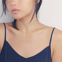 Delicate Simple Everyday Lucky Shinny Star Gold Necklace - Mini Choker