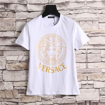 Versace Women or Men Fashion Casual Pattern Print Shirt Top Tee-4