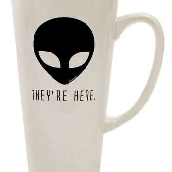 Alien They Are Here 16 Ounce Conical Latte Coffee Mug