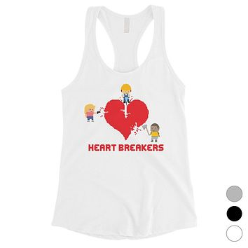 Heart Breakers Womens Cute Graphic Workout Tank Top Gift For Her