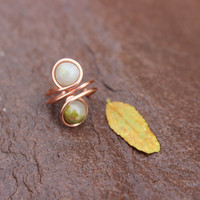 Copper Ear Cuff with Mossy Green and Cream Unakite Gemstones Unisex Tribal BOHO Earthy Hypoallergenic Women Men Gift OOAK, Nature Inspired