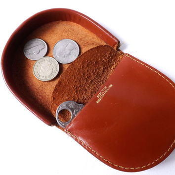 Vintage Leather Coin Purse / English Leather Coin Pouch, Money Holder / Vintage Fashion Accessory, Male Gift, Tan Hide Wallet