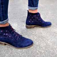 Hackney - Womens Fall Boots, Lace-up Boots, Suede Leather Boots, Ankle Boots, Handmade, Embroidery boots, Blue Boots, FREE customization!!!!