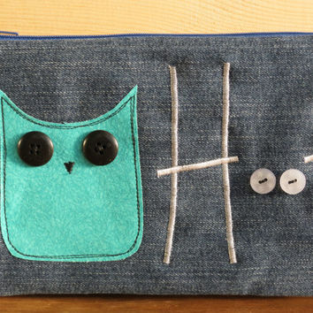 Recycled Denim and Teal Owl Applique Pencil Case, pouch, make-up bag, craft bag