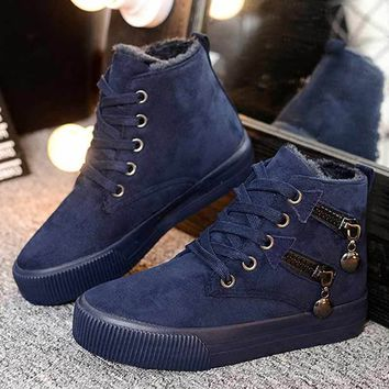 2017 Women Fashion Vintage Round Toe Flock Ankle Boots Lace Up Casual Shoes Booties for Winter