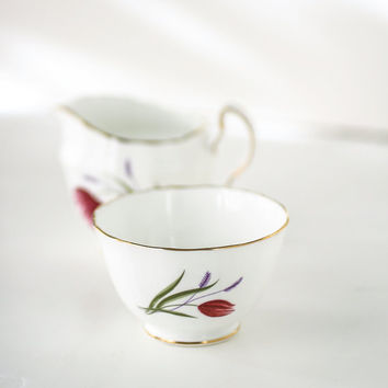 Vintage Adderly Fine Bone China Cream and Sugar Set