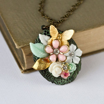 Shabby Chic Necklace  Pink Green Collage Necklace by lonkoosh