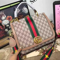 GUCCI Bag Women Shopping Shoulder Bag Contrast Stripe B-AGG-CZDL Pink Edge