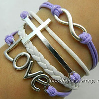 Unisex simple fashion silver 8 infinity wish, LOVE and cross bracelet--purpel wax rope and white Leather braided leather bracelet
