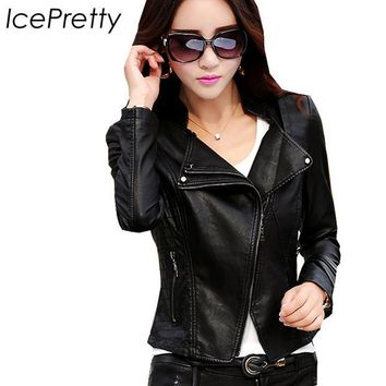 VONEGQ 2016 autumn female leather jacket women long sleeve pu leather jacket korean women slim motorcycle faux leather coat plus size