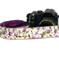 Floral dSLR Camera Strap. Purple Camera Strap. Women accessories