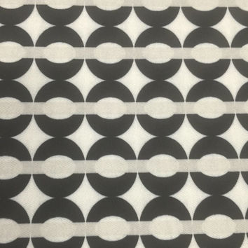 100% Cotton Drill Upholstery Fabric Vintage 60s Geometric Monochrome Print High Quality