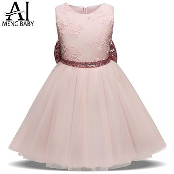 Sweet Lace Flower Girl Wedding Dress Infant Party Dress for Little Girl Outfit Children Prom Gown