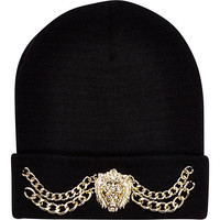 River Island Womens Black Lion head chain trim beanie hat