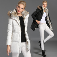 2016 Women Winter Coat Hooded Removable Wadded Jacket Medium-long Plus Size Parka Fur Collar Thickening Abrigos Female Snow Wear