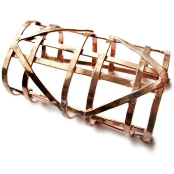Automaton Copper Cuff bracelet - Cage Bracelet -  new art deco - made in Austin Tx - Solid Copper Jewelry