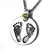 Custom Baby Footprint Pendant - Silver Gemstone Setting - Jewelry - Necklace - Gift - Mother's Day - New Moms - New Dads - Gemstones