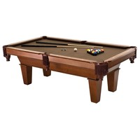 7Ft Brown Wool Cloth Top Pool Table with 2 Cues & Billiards Balls
