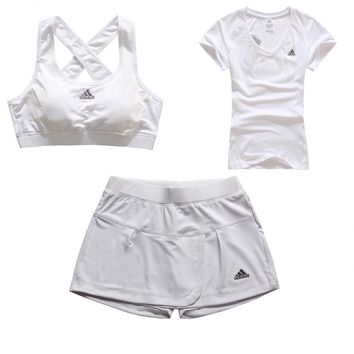 Trendsetter Adidas Gym Sport Yoga Embroidery Vest Tank Top Cami Shorts Set Three-Piece