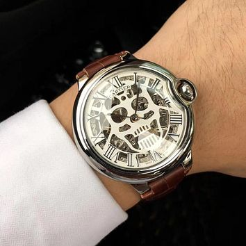 DCCK C023 Cartier Skull Hollow Automatic Machinery Leather Watchand Watches Maroon Sliver White