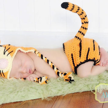 Crochet Tiger Character Beanie Hat & Diaper Cover w/ Tail Baby Set