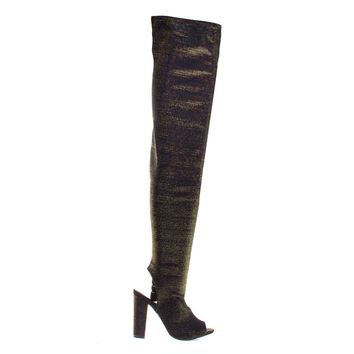 Limelight62S Gold By Bamboo OTK Over Knee Peep Toe Open Back Thigh High Block Heel Boots