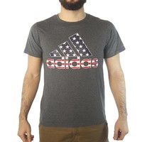 Adidas USA Flag Performance Logo Print Men's Grey T-shirt