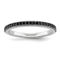 Sterling Silver Black CZ Brilliant Embers Polished Ring