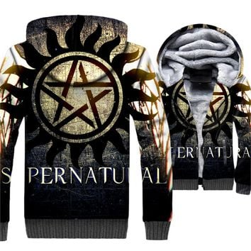 Supernatural Hoodeie Men 3D SPN Hooded Sweatshirt 2018 New Design Winter Thick Fleece Warm Zipper Coat Jackets Brand Clothing
