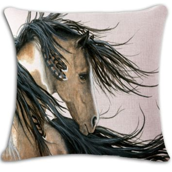 Native Horse Pillow Cover