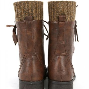 Justina 58 Sweater Cuff Combat Boots From Make Me Chic