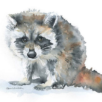 Raccoon Watercolor Painting Giclee Reproduction - 4 x 6 in -- Nursery Art  -- Fine Art Print