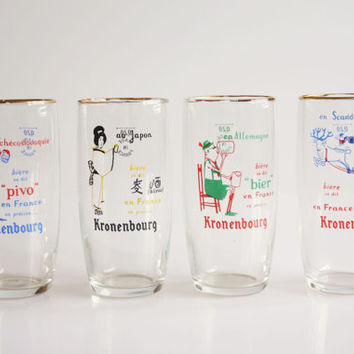 Vintage French Kronenbourg country beer glasses, beer glass Germany, beer glass Japan, beer glass Scandinavia, beer glass Czechoslovakia