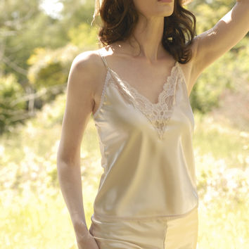 #514   Celeste Satin Lace Trim Anti-Cling Camisole