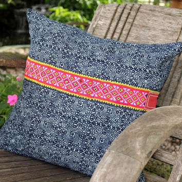 18 in Indigo Batik Hmong Pillow Double Sided Cushion Cover With Embroidery Stripe